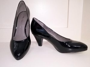 Black patent court shoes, Elegante Dronfield