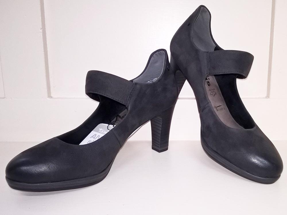 ... strap category tamaris tags black court shoes medium heel shoes straps