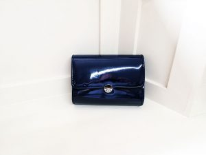 Lunar navy bag front, Elegante Dronfield